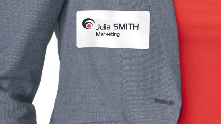Self adhesive name badges