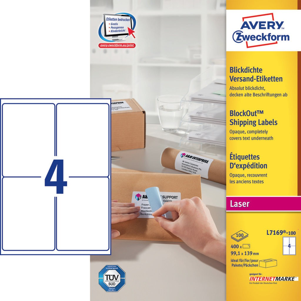 Shipping Labels L7169 100 Avery