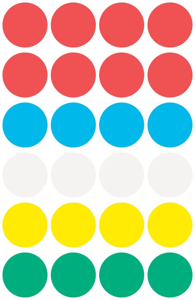 Dot stickers Ø 18 mm, assorted colours, permanent
