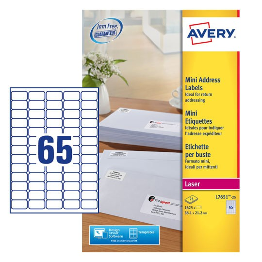 Mini Address Labels L7651 25 Avery