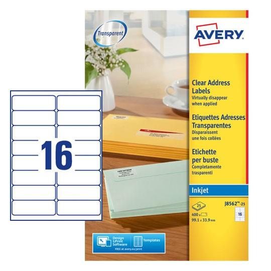 Clear Address Labels J8562 25 Avery