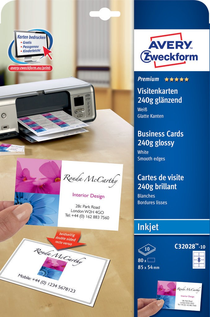 Premium business cards c32028 10 avery premium business cards 85 x 54 mm inkjet 240 gm colourmoves Images