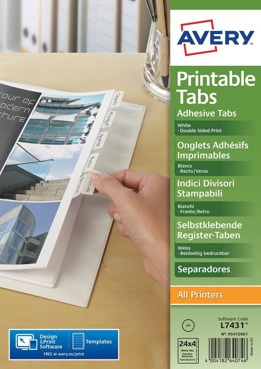 Printable Tabs 05412061 Avery